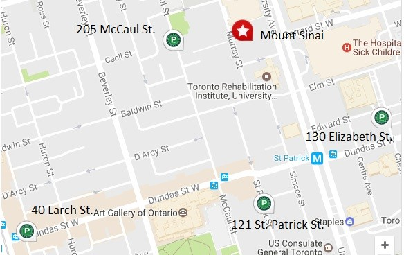map of mount sinai hospital parking toronto